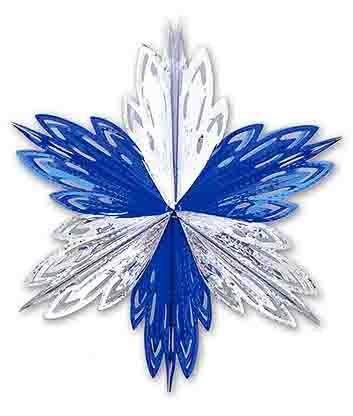 Снежинка серебряно-синяя (40 см)