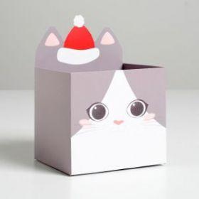 Коробка для мини-букетов «С новым годом», котик, 12 х 18 х 10 см