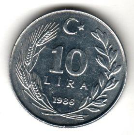 Турция 10 лир 1986