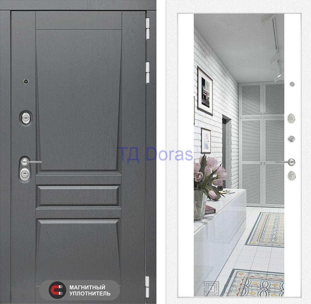 Входная дверь Платинум с Зеркалом Максимум - Белый софт