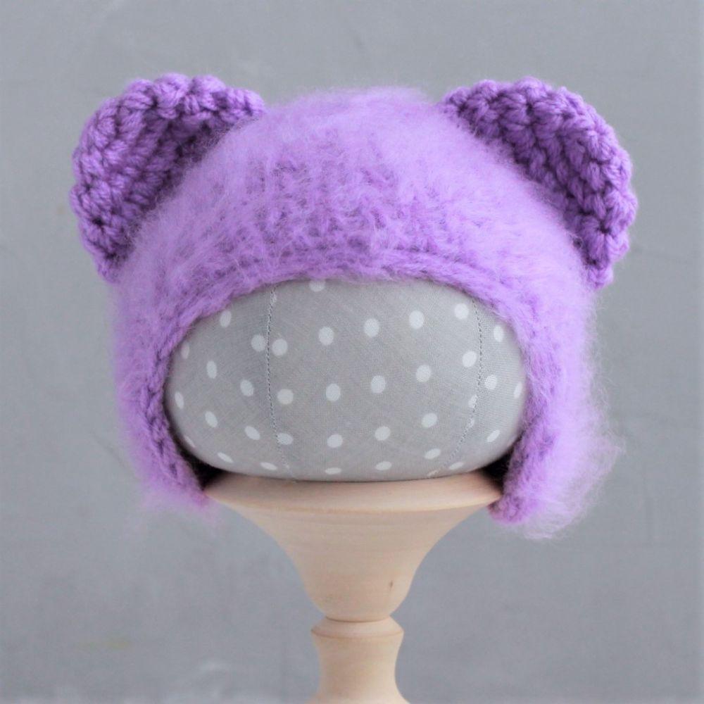 Вязаная шапочка - Медвежонок сиреневый пушистый