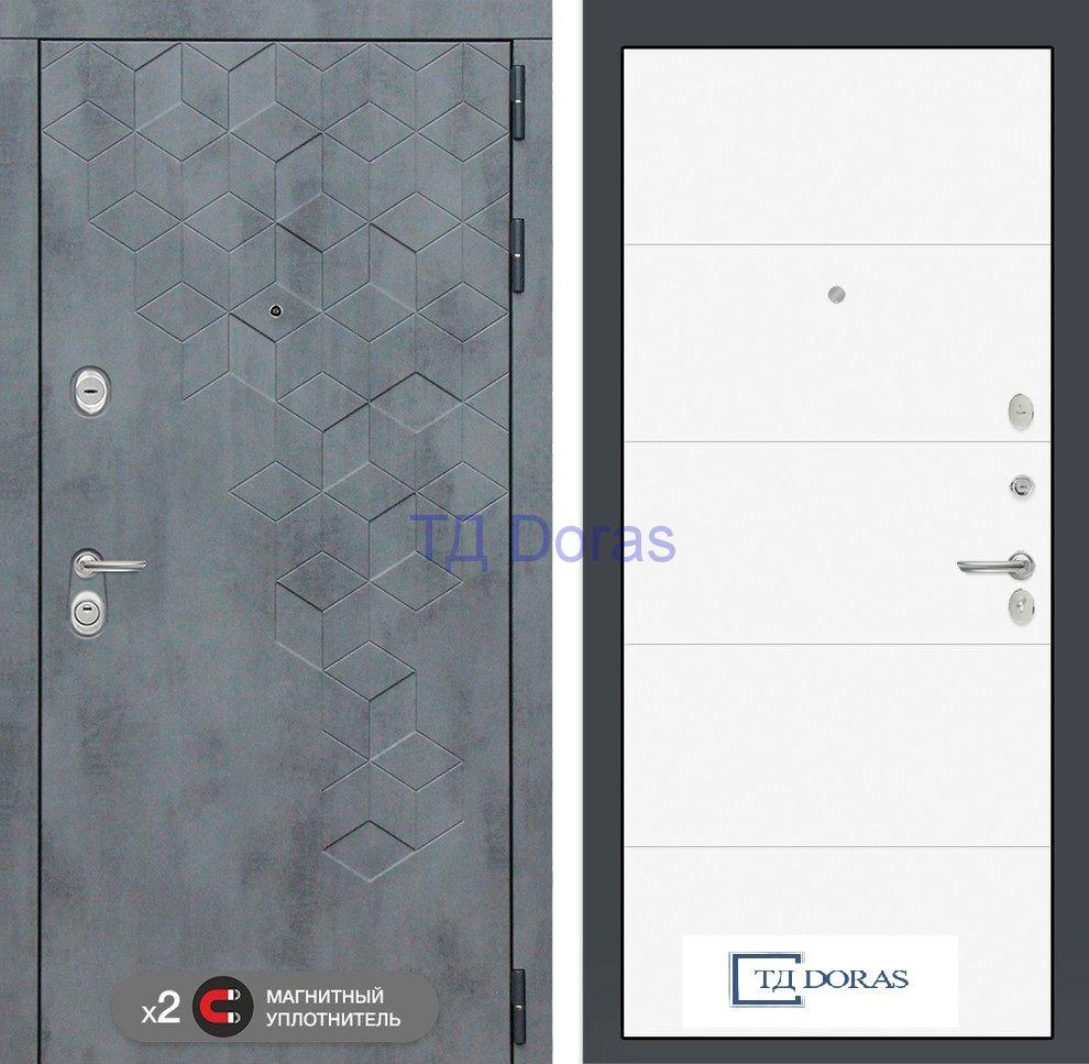 Входная дверь Бетон 13 - Белый софт