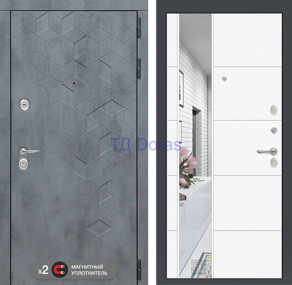 Входная дверь Бетон с зеркалом 19 - Белый софт beton-19-white beton-katalog beton2-katalog Входная дверь Бетон с зеркалом 19 - Белый софт