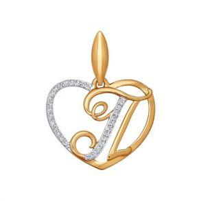 Подвеска-буква «П» из золота 034661 SOKOLOV