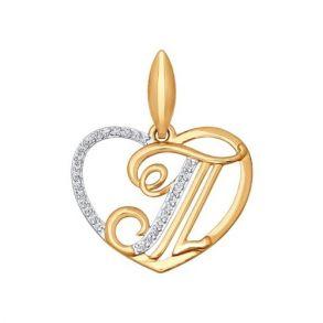 Подвеска-буква «Т» из золота  034664 SOKOLOV