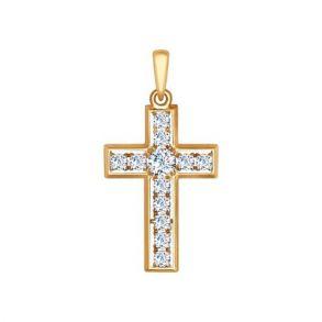 Крест из золота с фианитами 035114 SOKOLOV