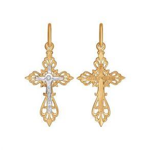 Крест из комбинированного золота 120079 SOKOLOV