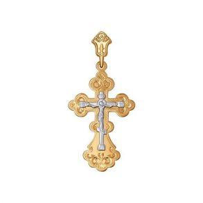 Крест из комбинированного золота с гравировкой 121107 SOKOLOV