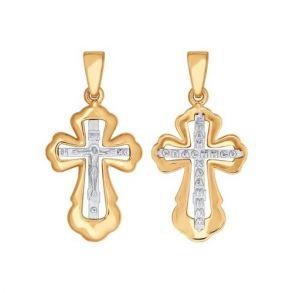 Крест из комбинированного золота 121337 SOKOLOV