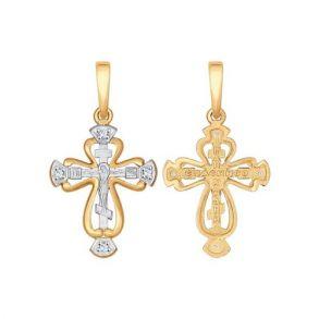 Крест из золота с фианитами 121366 SOKOLOV