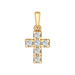 Крест из золота со Swarovski Zirconia 81030063 SOKOLOV