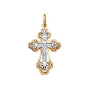 Крест из комбинированного золота с алмазной гранью 120314 SOKOLOV