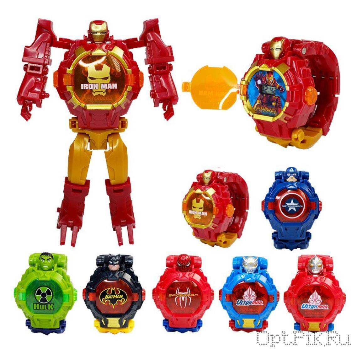 Часы-трансформер герои Мстители в ассортименте