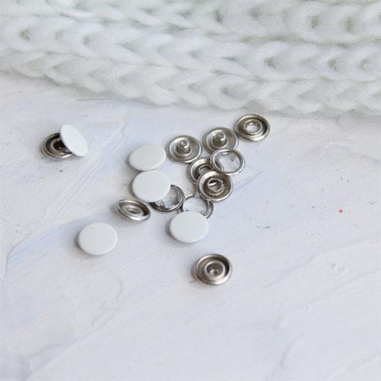 Кнопки рубашечные закрытые - Белый металл 9.5 мм