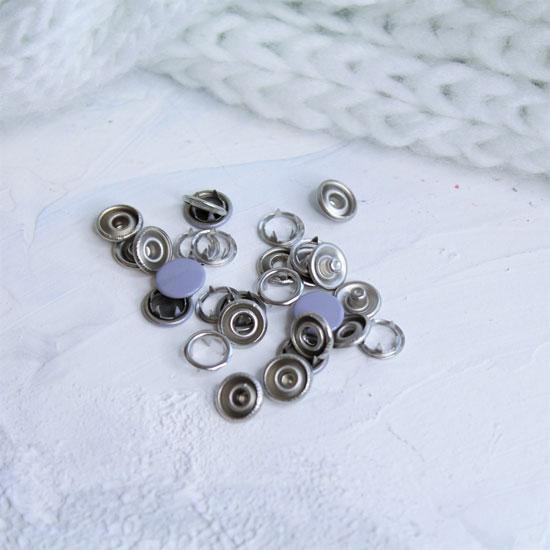 Кнопки рубашечные закрытые - Сиреневый металл 9.5 мм