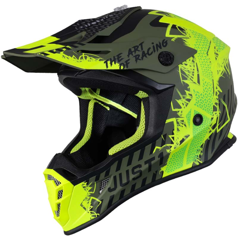 Just1 J38 Mask Fluo Yellow Black Green Matt шлем внедорожный