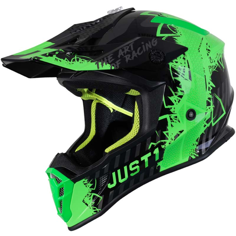 Just1 J38 Mask Fluo Green Titanium Black шлем внедорожный