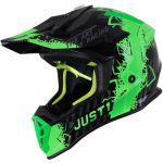 Just1 J38 Mask Fluo Green Titanium Black шлем внедорожный