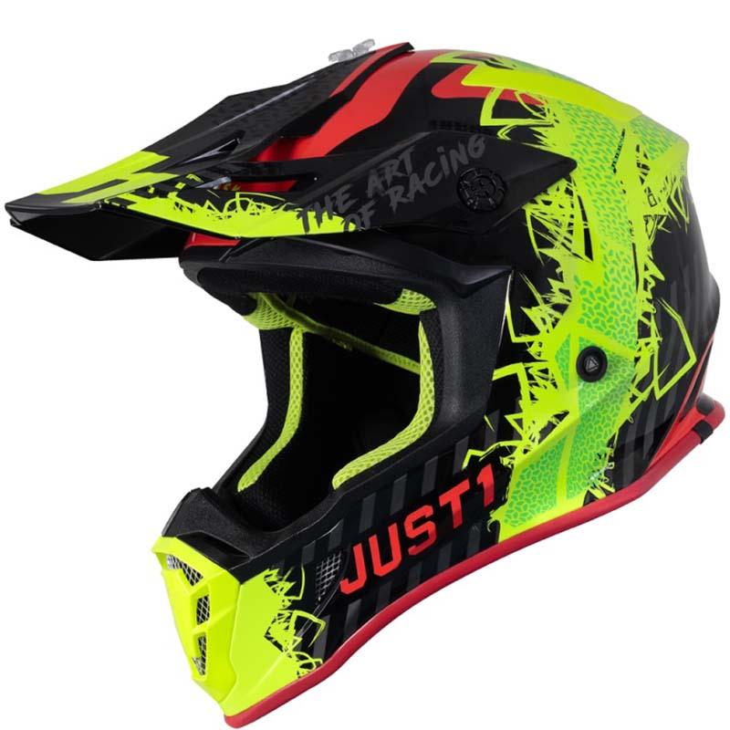 Just1 J38 Mask Fluo Yellow Red Black шлем внедорожный