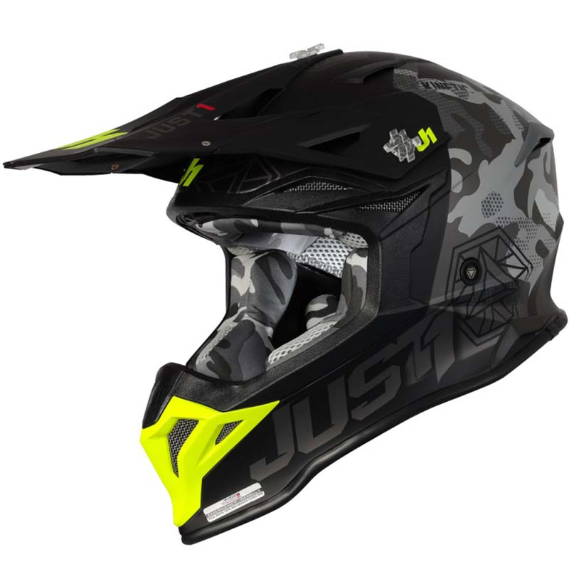 Just1 J39 Kinetic Camo Fluo Yellow Black Matt шлем внедорожный