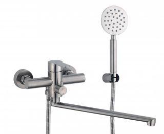 Смеситель для ванны с длинным изливом и душевым набором Fmark FS8224 сатин