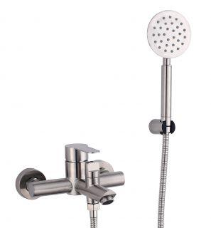 Смеситель для ванны с коротким изливом и душевым набором Fmark FS8204 сатин