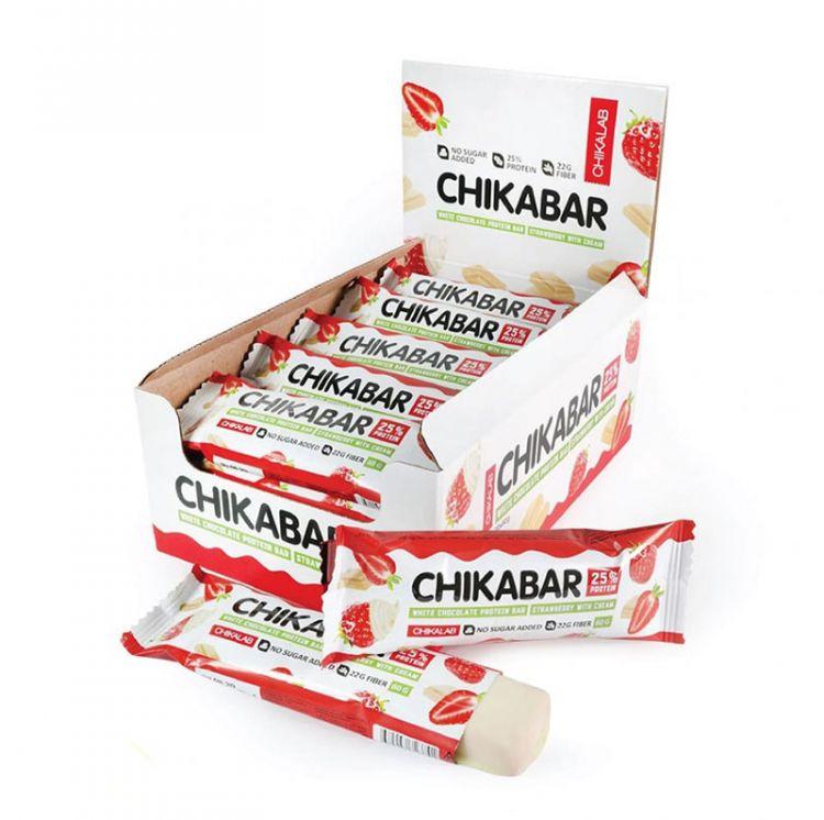 Протеиновый батончик в шоколаде Chikalab Клубника со сливками