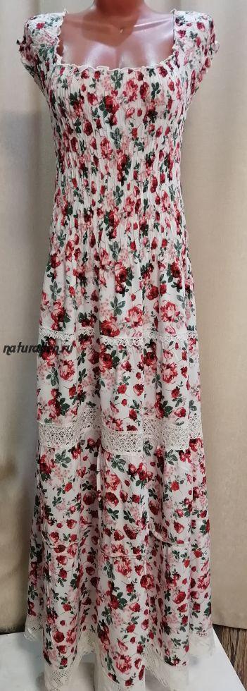 Сарафан в пол штапельный с льняным кружевом розы