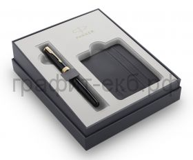 Набор Parker Sonnet Ручка перьевая LaqBlack GT + футляр для кредитных карт 2121991