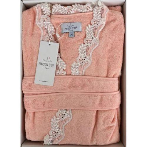 Женский махровый халат Dina персиковый