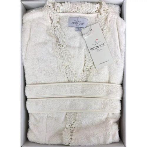 Женский махровый халат Dina кремовый