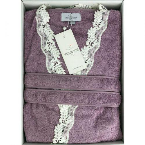 Женский махровый халат Dina Long фиолетовый