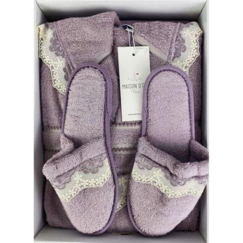 Женский махровый халат Vanessa фиолетовый