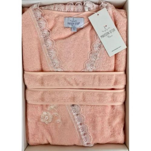 Женский махровый халат Celyn персиковый