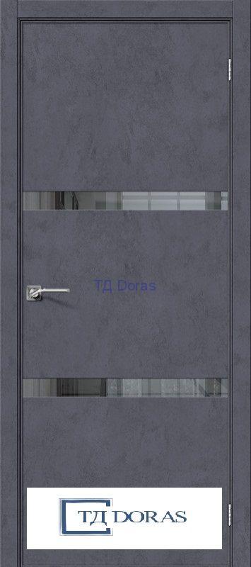 Межкомнатная дверь с экошпоном Порта-55 4AF Graphite Art/Mirox Grey