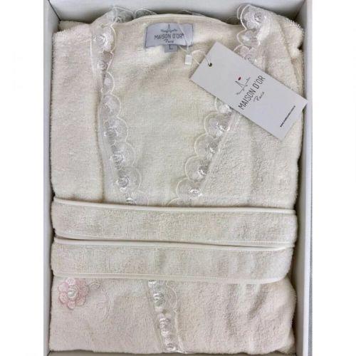 Женский махровый халат Celyn кремовый