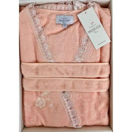 Женский махровый халат Celyn Long персиковый