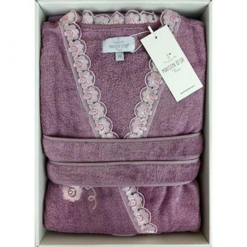 Женский махровый халат Celyn Long фиолетовый