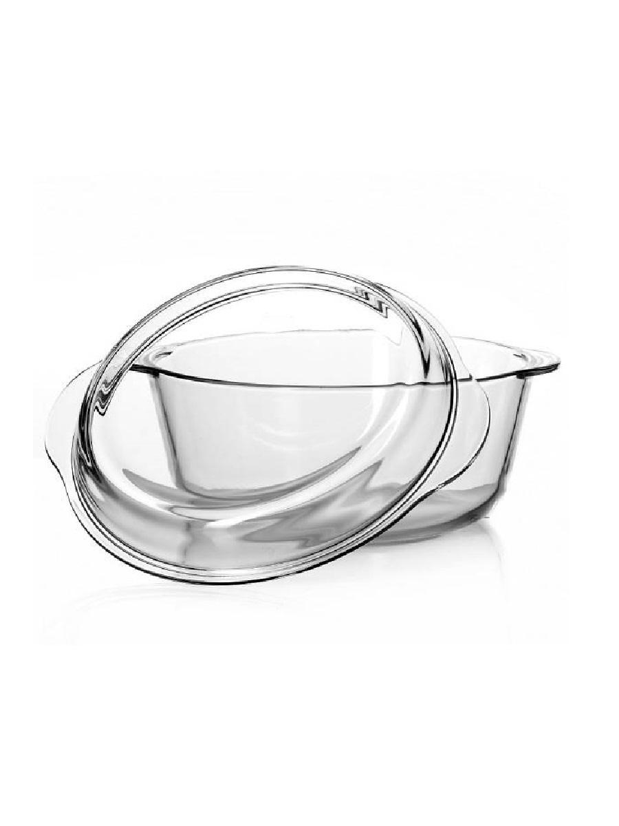 Кастрюля жаропрочная стеклянная 3 литра с крышкой Borcam 59013 круглая форма с крышкой 24 см рубашка