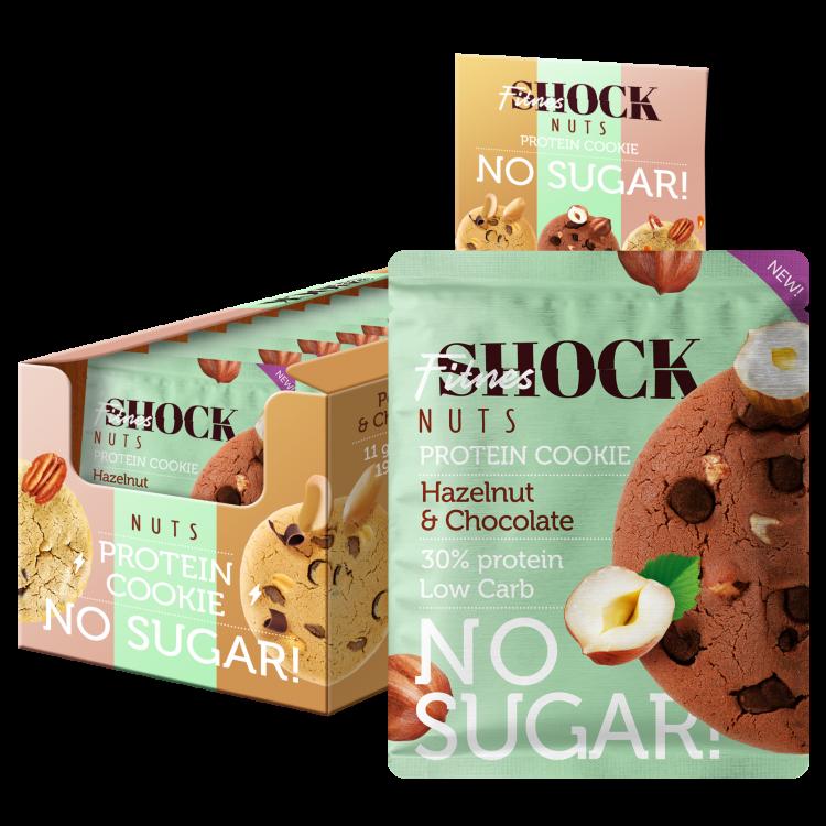Товар FitnesSHOCK NUTS Печенье с цельным орехом 40 г Шоколад-фундук