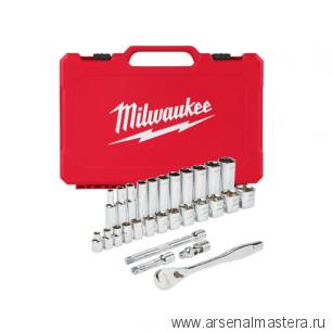 Набор метрических головок с воротком 3/8 дюйма 32 предмета в чемодане MILWAUKEE  4932464945