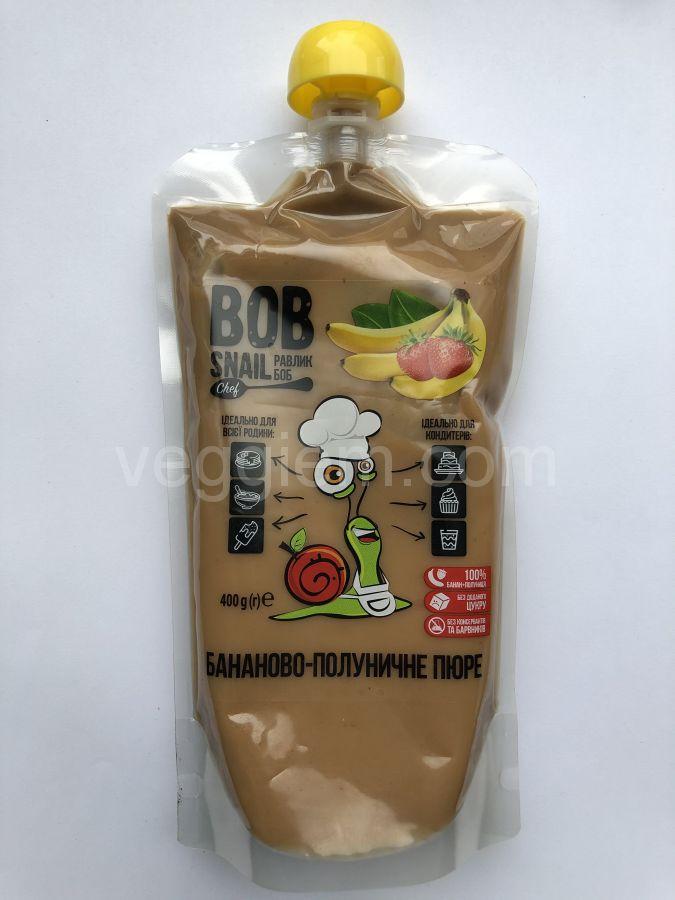 Натуральное фруктовое пюре бананово-клубничное,400 грамм