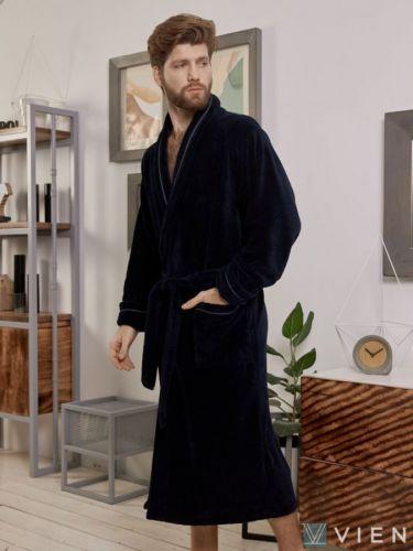 Мужской махровый халат из бамбука Daniel темно-синий