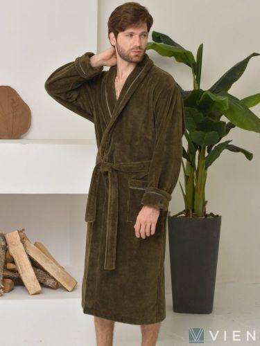 Мужской махровый халат из бамбука Daniel хаки