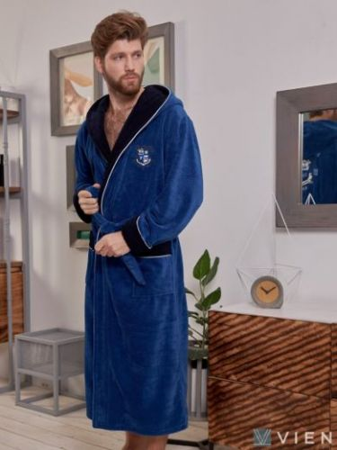Мужской махровый халат из бамбука Wien Club джинс