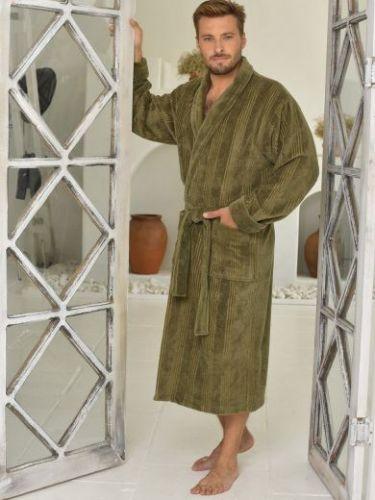 Мужской махровый халат из бамбука Valentino хаки