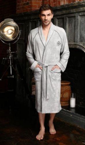 Мужской махровый халат из бамбука Colombo серебро