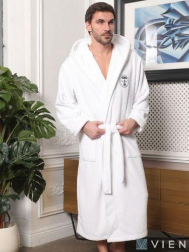 Мужской махровый халат с капюшоном Sydney белый