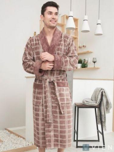 Мужской махровый халат из бамбука Stockholm mokko