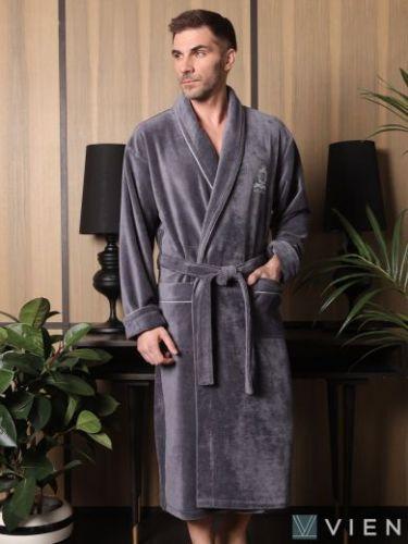 Мужской махровый халат Vitorre антрацит